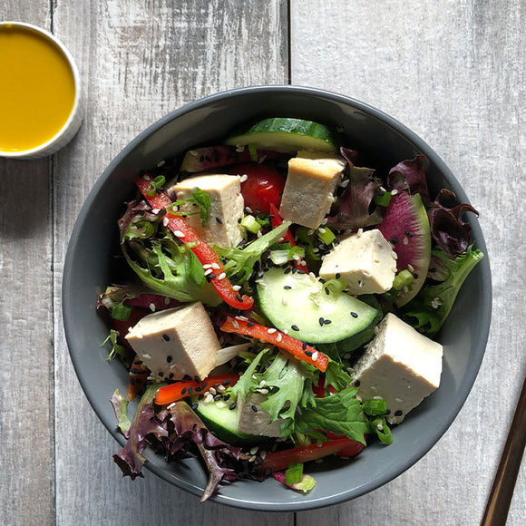 Vegetarian Tofu Salad with Carrot Ginger Dressing