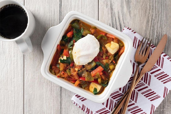 Vegetarian Tofu Shakshuka with Red and Green Pepper