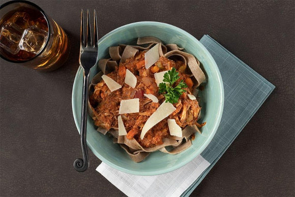 Turkey and Lentil Bolognese with Emmer Flour Tagliatelle