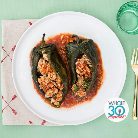 Whole30 Approved Turkey Picadillo Chilles Rellenos