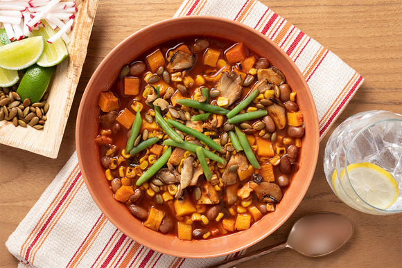 Vegetable Pozole with Hominy, Cranberry Beans and Butternut Squash