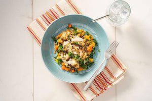 Vegetarian Green Lentil Salad with Roasted Eggplant and Tahini Dressing