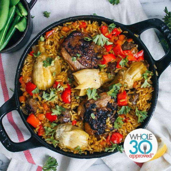 Whole30 Chicken Artichoke Paella