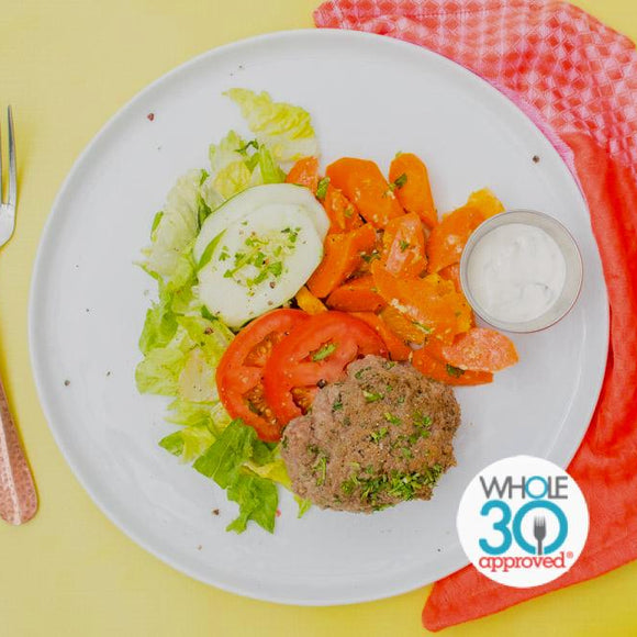 Whole30 Greek Turkey Burger with Moroccan Carrot Salad