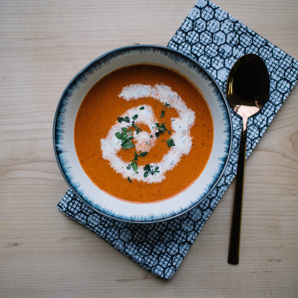 Roasted Red Pepper Soup with Cilantro Cream