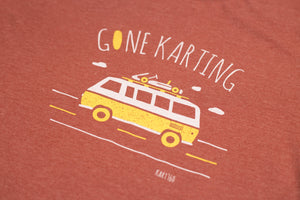 Enhanced view of the Gone Karting graphic on the Heather Clay tee