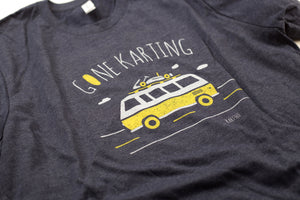 Gone Karting tee in Heather Midnight Navy color