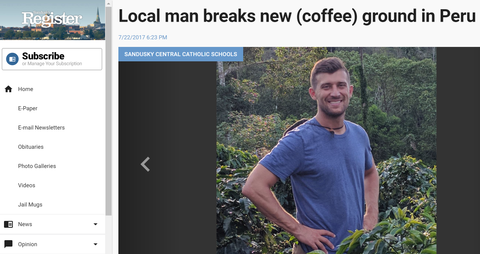 Local man breaks new (coffee) ground in Peru