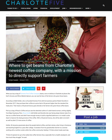 Where to get beans from Charlotte's newest coffee company, with a mission to directly support farmers