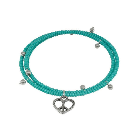Fronay Co .925 Sterling Silver Memory Coil Turquoise Heart Charm Bracelet - ChristmaShop