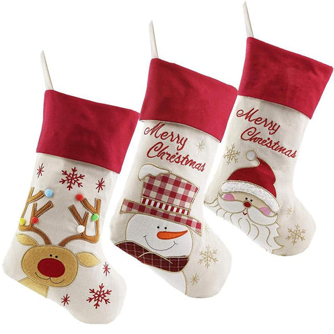Set of 3 Santa, Snowman, Reindeer Christmas Stocking - ChristmaShop