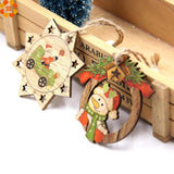 10 Piece Santa and Snowman Wooden Pendants - ChristmaShop