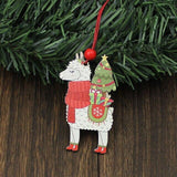 3 Piece Wooden Alpaca Christmas Pendants - ChristmaShop