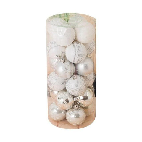 24pcs Christmas Tree Decorations 6cm Barrels Color Painted Balls High-end Christmas Balls Plastic Painted Christmas Balls - ChristmaShop