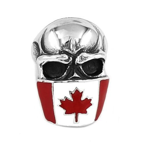 Canada Flag Infidel Skull Ring Stainless Steel - ChristmaShop