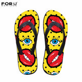 FORUDESIGNS Funny Red Lips Fashion Flip Flops for Woman - ChristmaShop