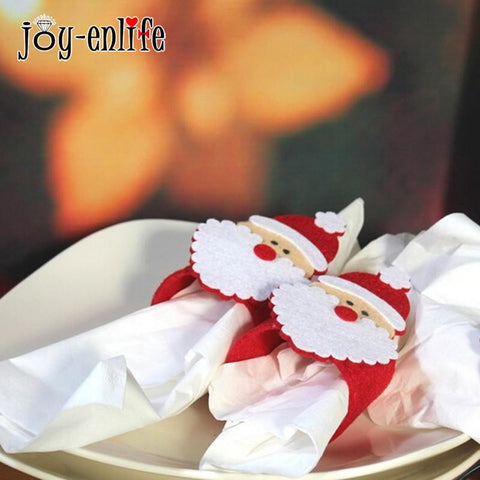JOY-ENLIFE 4Pcs/bag Christmas Napkin Ring Santa Claus Napkins Buckle - ChristmaShop