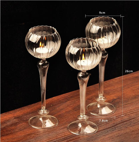 Dining Table Solid Crystal Candlestick,Flower Shape - ChristmaShop