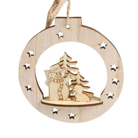 New Wooden Embellishments Rustic Merry Christmas Tree Hanging Ornaments - ChristmaShop