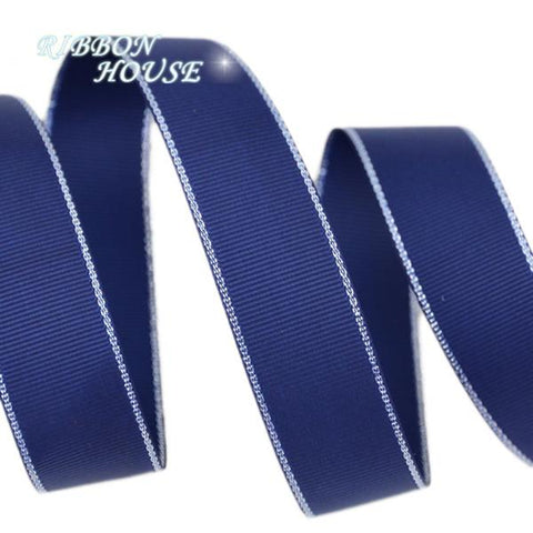 Silvery Edge Dark Blue Grosgrain Ribbon - ChristmaShop