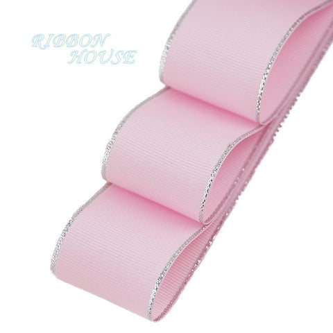 (10 yards/lot) Silvery Edge Pink Grosgrain Ribbon - ChristmaShop