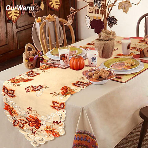 OurWarm Halloween Party Table Cloth Embroidered Table Runners  38*176cm - ChristmaShop