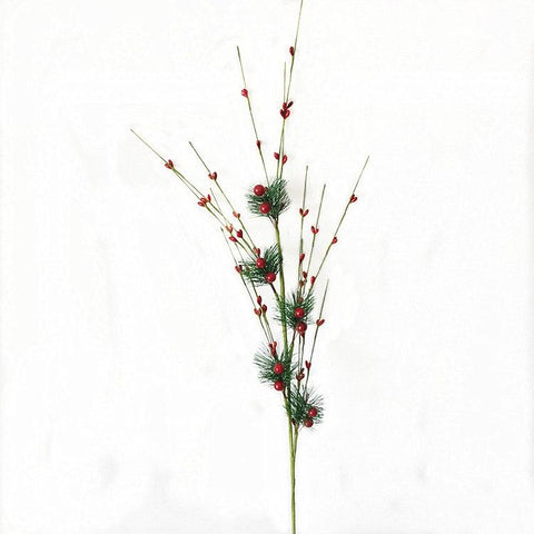 2pcs/lot 32 Inch Christmas Red Berry Branch Artificial Holly Flower Pick Wreath - ChristmaShop