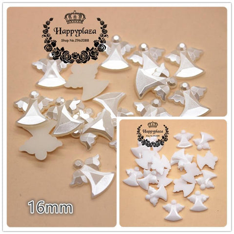 100pcs 16mm Cute Ivory/White Acrylic Angel - ChristmaShop