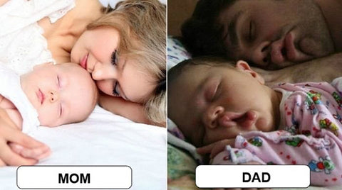 Different Between Mom and Dad Sleeping with Baby