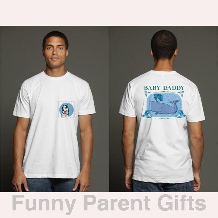Baby Daddy with Sperm Whale - Short Sleeve Pocket T-Shirt for Men