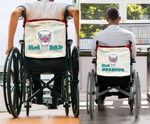 Funny Parent Gifts wheelchair bags Hot Dad/Hot Grandpa Ostrich - Red Handie Totie Bagz - Wheelchair/Walker Bag