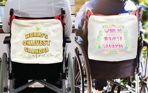 Funny Parent Gifts wheelchair bags World's Okayest Grandma Wheelchair/Walker Bag World's Okayest Grandma/Grandpa - Red Handie Totie Bagz Wheelchair/Walker Bag