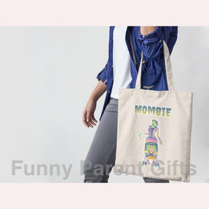 Funny Parent Gifts wholesale bags Mombie Zombie Artwork on Canvas Merchant Tote Bags with Custom Logo