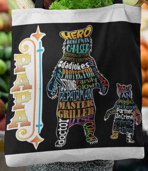 Funny Parent Gifts wholesale bags Papa Bear Artwork on Canvas Merchant Tote Bags with Custom Logo