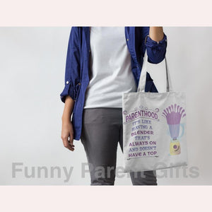 Funny Parent Gifts wholesale bags Parenthood Topless Blender Artwork on Canvas Merchant Tote Bags with Custom Logo