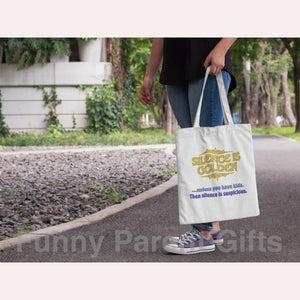 Funny Parent Gifts wholesale bags Silence is Golden/Suspicious Artwork on Canvas Merchant Tote Bags with Custom Logo