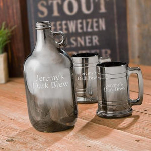 JDS Gifts Men Growler Set Personalized Gunmetal Beer Growler Set with Two Matching Beer Steins