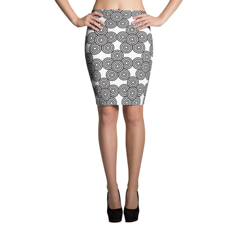 Disc Patterned Pencil Skirt
