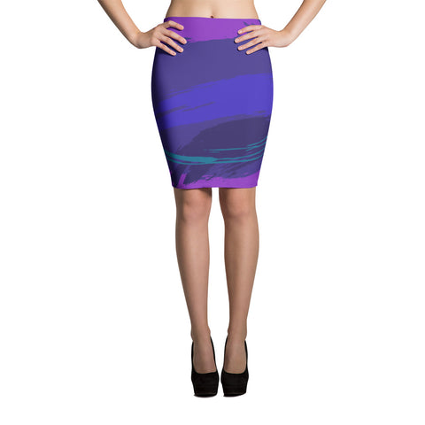 Purple-scape Pencil Skirt