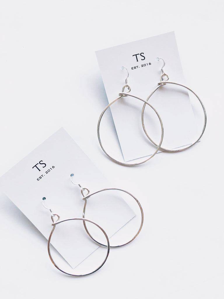 Hammered Silver Hoops