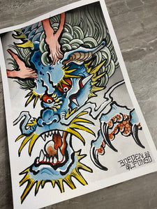 """Blue Dragon"" Original Painting by Boeden Alfonso"