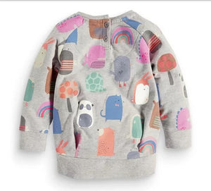 Pull gris animaux 2-5