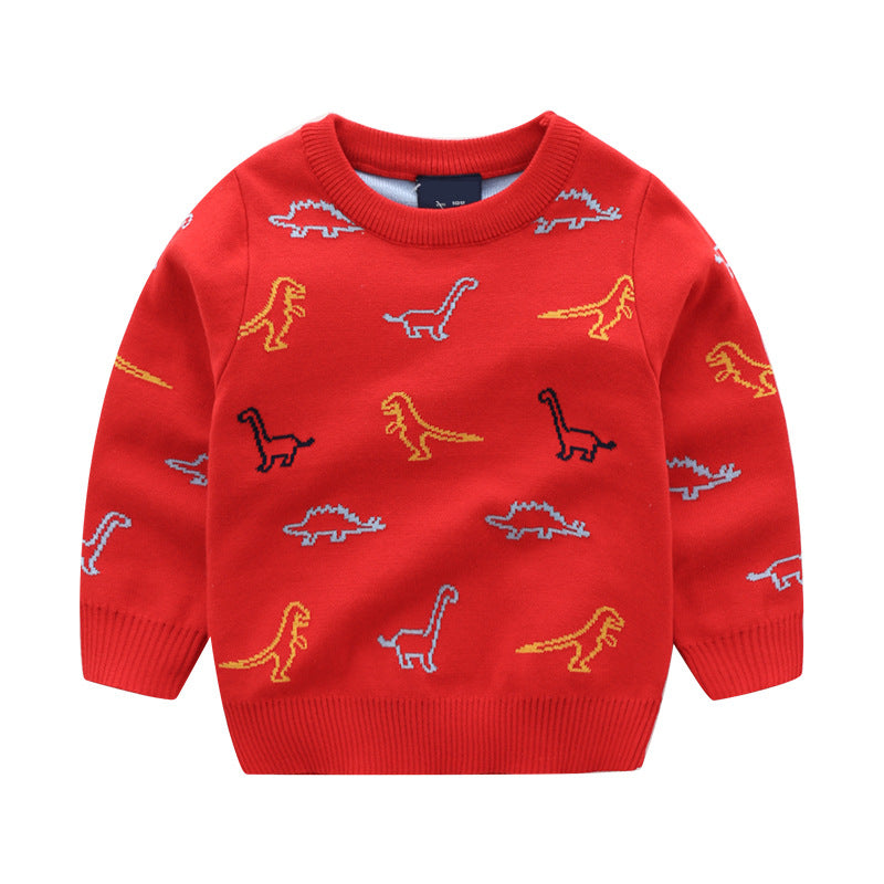 pull tricot rouge dino