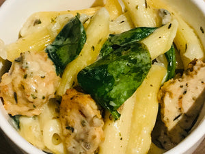 Penne with Chicken Sausage, Mushrooms and Spinach
