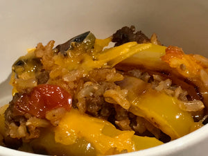 Roasted Pepper, Beef and Rice Bake