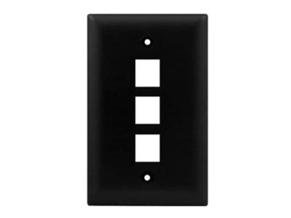 Wall Plate for Keystone, 3 Hole - Black Hammer Solutions Fort Smith Arkansas Technology IT Services Networking Cabling