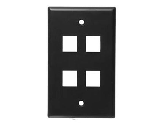 Wall Plate for Keystone, 4 Hole - Black Hammer Solutions Fort Smith Arkansas Technology IT Services Networking Cabling