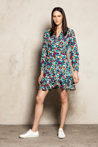 Mini Wrap Dress Tulips Print