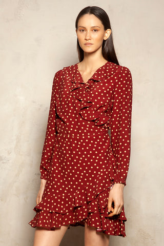 Mini Wrap Dress Polka Dot Print
