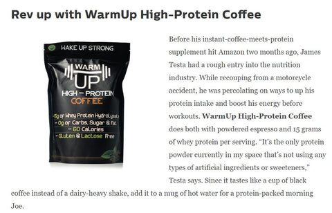 WarmUp Protein Coffee Powder | All-Natural, High Quality Whey Hyrdolysate With Over A Double Shot Of Espresso Caffeine | Served Hot/Iced | Gluten and Lactose Free | Low Carb/Keto | 18 Servings | Espresso Coffee Protein